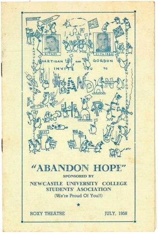 Abandon Hope Revue Programme (Courtesy of Moira Gordon)