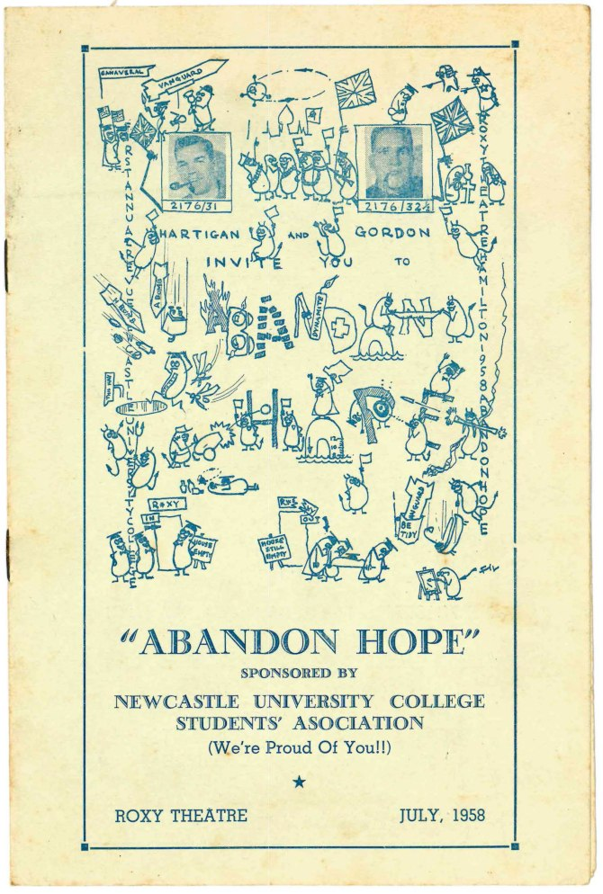 Abandon Hope Revue Programme (Courtesy of Moira Gordon)