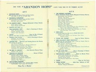 Abandon Hope Programme (July, 1958) Courtesy of Moira Gordon