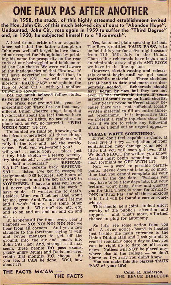 1961 - Reviews - One Faux Pas After Another (Courtesy of Robert Eather)