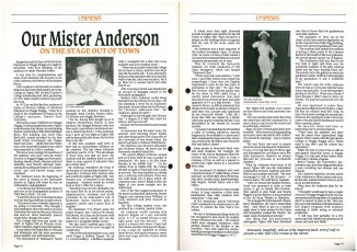 """""""Our Mister Anderson"""" Uninews No 17 March 1991 pp.18-19"""