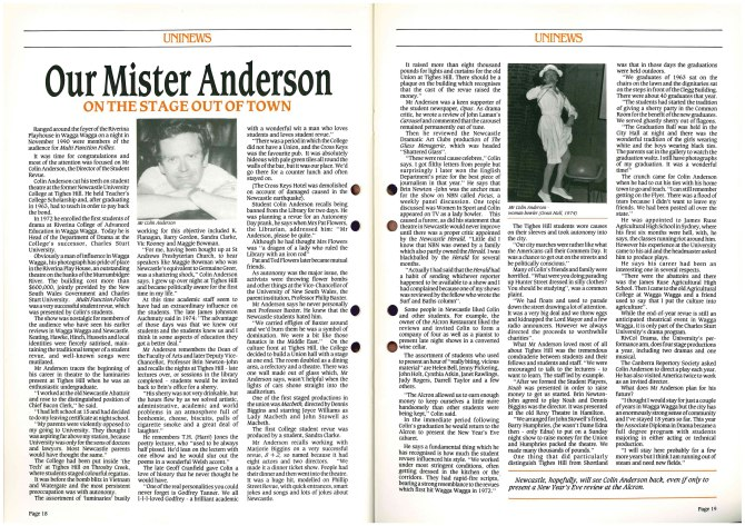 """Our Mister Anderson"" Uninews No 17 March 1991 pp.18-19"