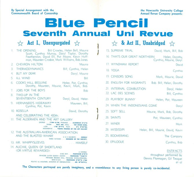 Blue Pencil Revue Programme