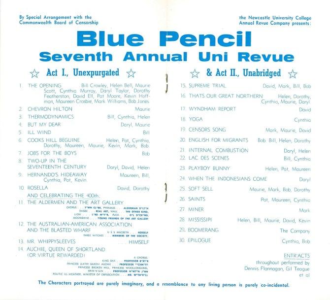 Blue Pencil Revue Programme