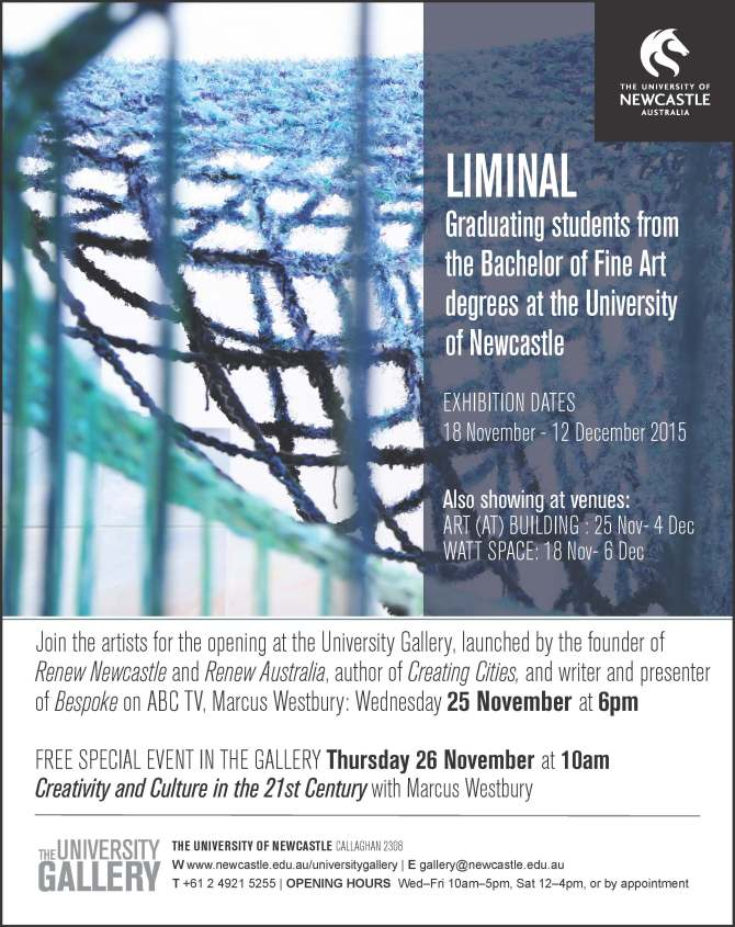 E-invite to LIMINAL at the University Gallery