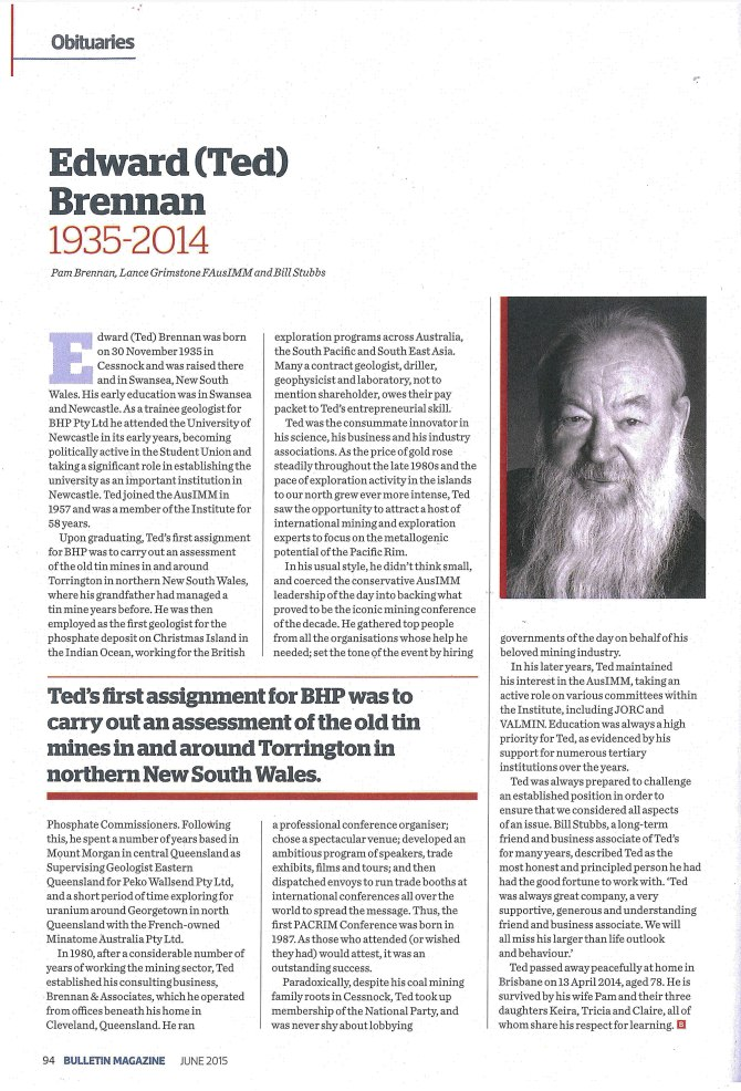 Edward (Ted) Brennan 1935-2014 Obituary (Courtesy of Journal of the Australian Institute Of Mining and Metallurgy)