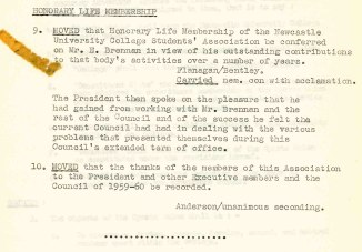 """Honorary Life Membership for Ted Brennan """"in view of his outstanding contributions to that body's activities overa number of years"""" - From NUCSA Minutes Vol 2, 8th Council 1959-1960 Archives Location B10947)"""