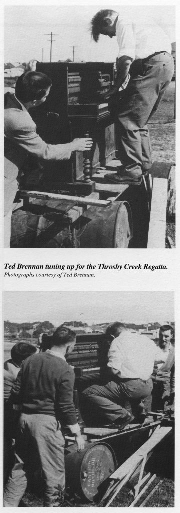 "Ted playing the ""pretend"" piano at the Throsby Creek Regatta, circa 1960. (Photo: Ted Brennan)"