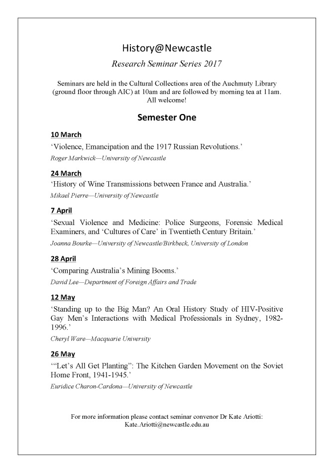 History@Newcastle Research Seminar Series, Semester 1, 2017