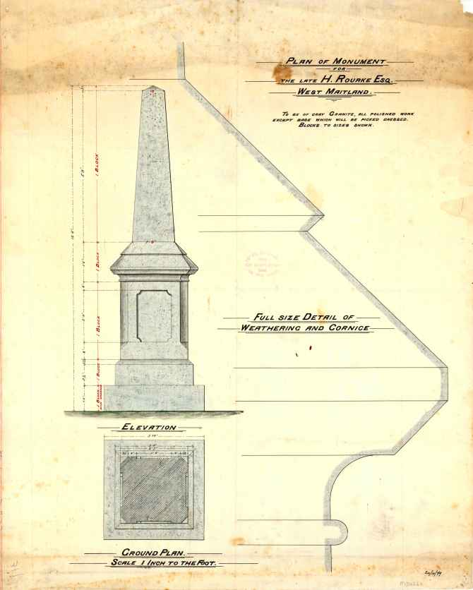 M5026-1Plan of Monument for the late H Rourke Esq